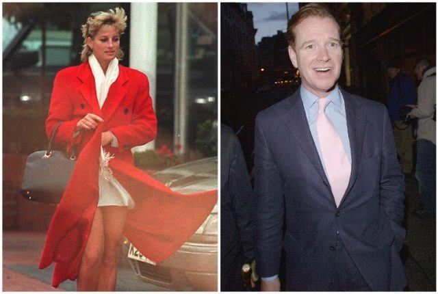 A collage featuring Princess Diana and James Hewitt.