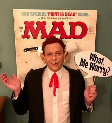 A man dressed as a cover of a Mad Magazine
