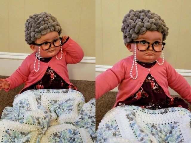 A toddler dressed as a grandmother