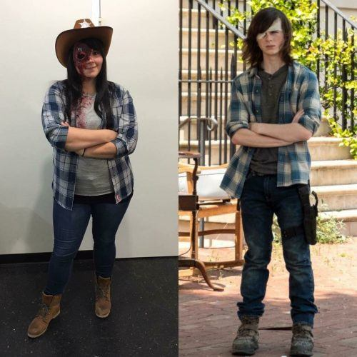 """A woman dressed as """"Carl"""" from the TV show """"The Walking Dead"""" with a comparison to the character from the show"""