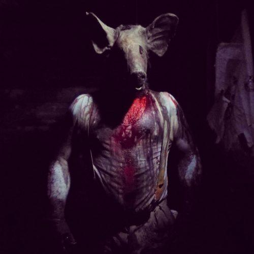 a man wearing a pigs head with blood running down his chest