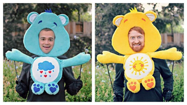 Two men dressed as Care Bears