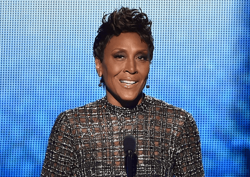 Robin Roberts at a microphone