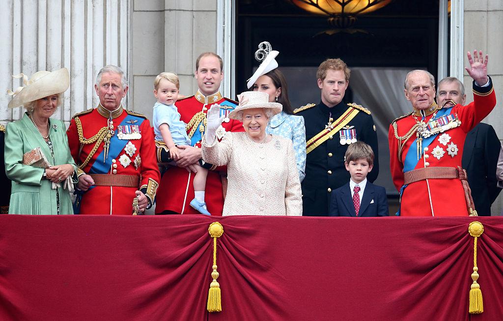 Camilla, Duchess of Cornwall; Prince Charles, Prince of Wales; Prince George of Cambridge; Prince William, Duke of Cambridge; Catherine, Duchess of Cambridge; Queen Elizabeth II; Prince Harry and Prince Philip, Duke of Edinburgh greet the public.