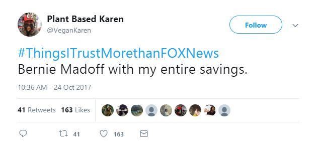 A Tweet about scam artist Bernie Madoff