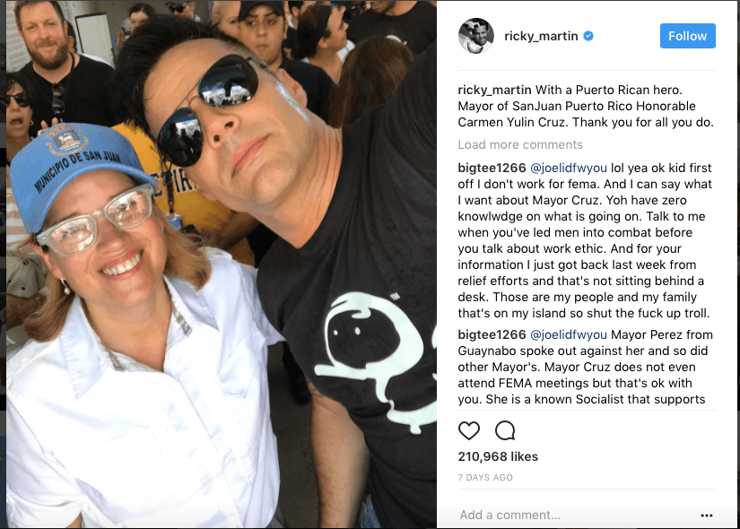 Ricky Martin and the mayor of San Juan on Instagram