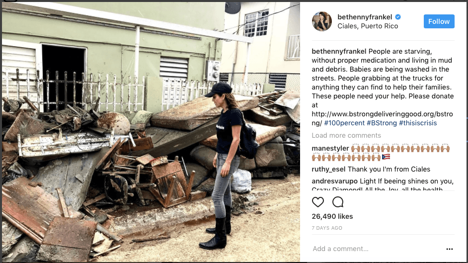 Bethenny Frankel with a pile of debris on Instagram