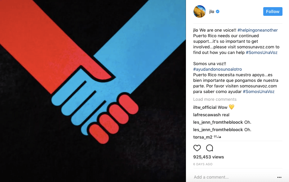 a picture of two hands, one red and one blue on a black background on Instagram