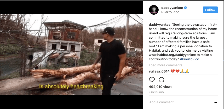 Daddy Yankee walks past downed trees in Puerto Rico on Instagram