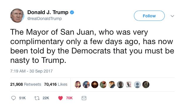 one of trump's Puerto Rico tweets