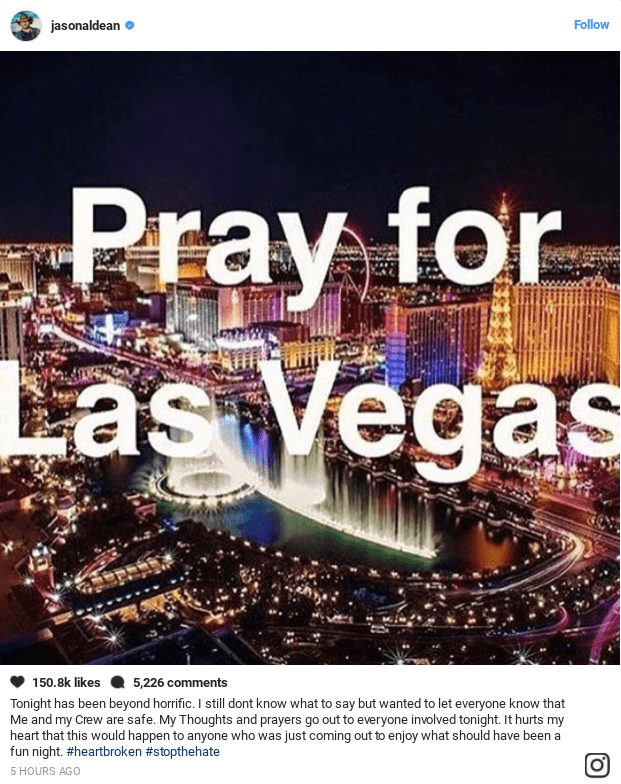 Jason Aldean's instagram following Las Vegas
