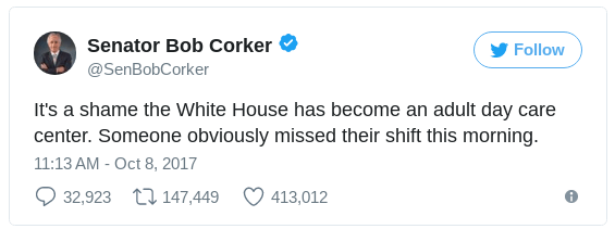 a tweet by Bob Corker