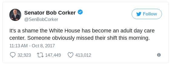 a tweet by Bob Corker