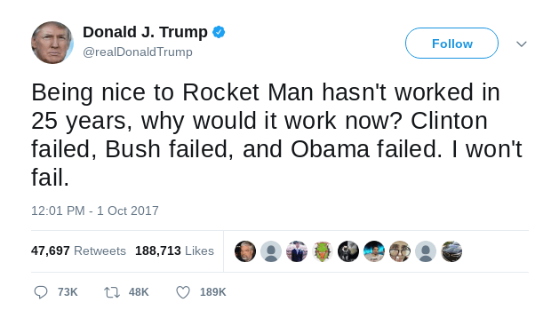 Trump tweet about rocket man