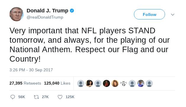 trump NFL tweet