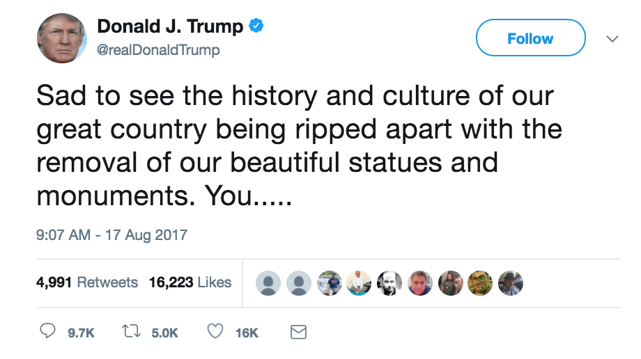 a tweet defending confederate monuments
