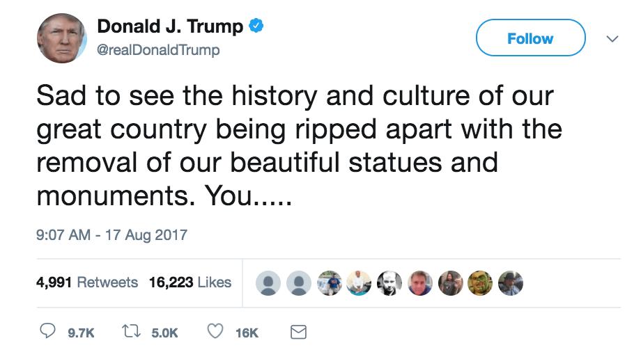 a tweet defending confederate monuments