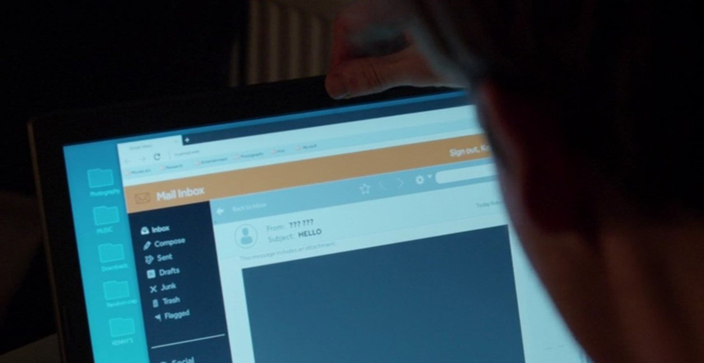 "Kenny uses his thumb to cover his laptop camera in the Black Mirror episode ""Shut Up and Dance."""