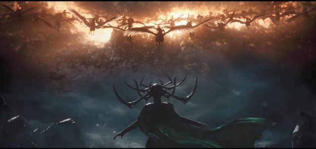 Hela facing down an army of Valkyrie flying through the sky.
