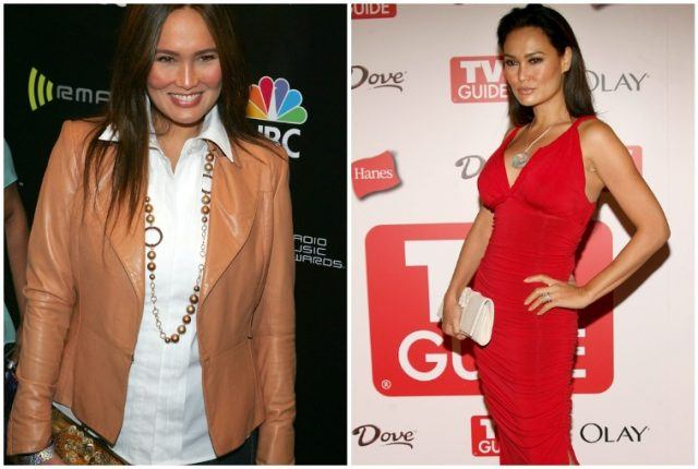 Tia Carrere's body transformation shown in collage.