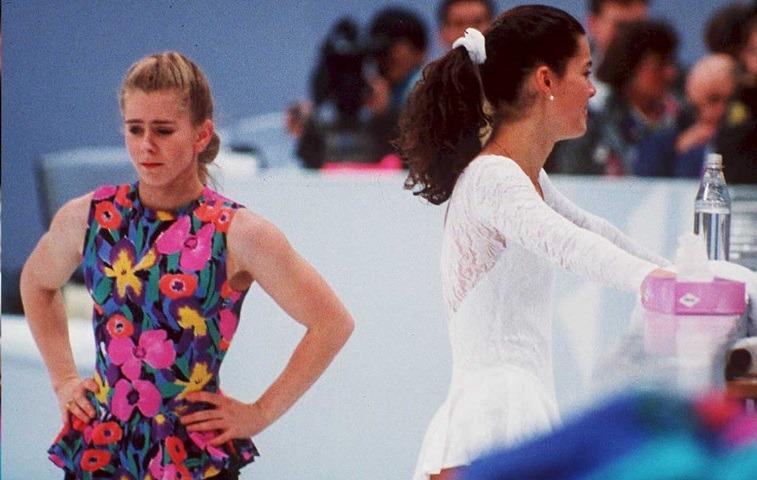 Figure skaters Tonya Harding and Nancy Kerrigan