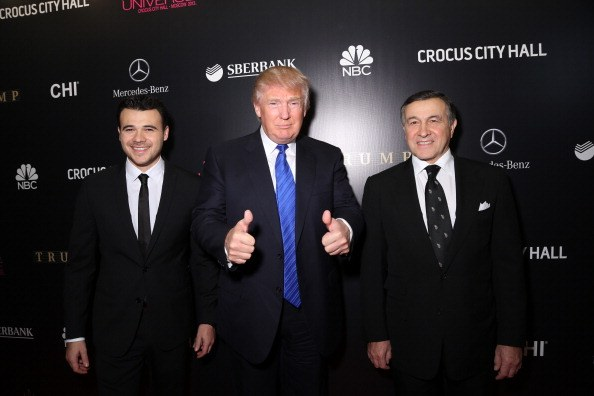 Emin Agalarov, Donald Trump, and Aras Agalarov attend the red carpet at the Miss Universe Pageant Competition 2013 in Moscow, Russia.
