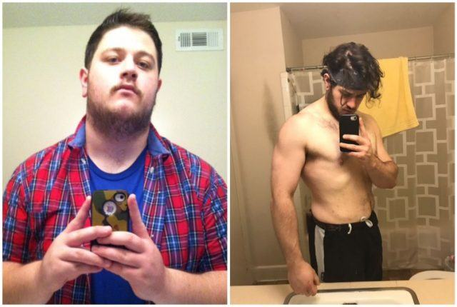 Gunner Cargile's weight loss comparison collage.