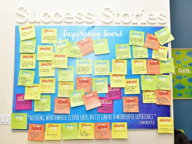 A Success Stories board with notes at a Weight Watchers location.