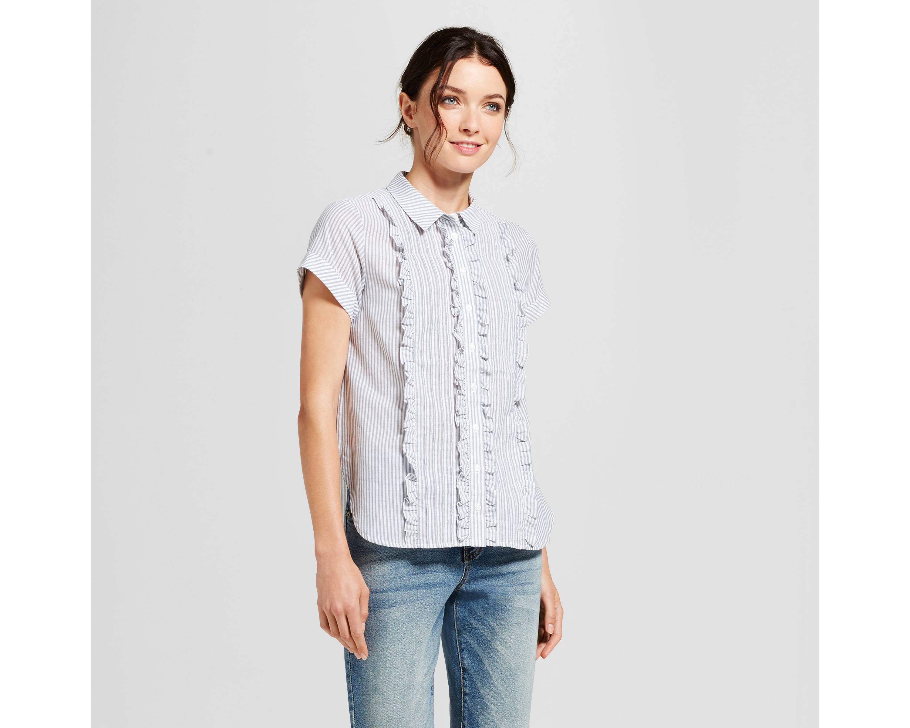 Women's Shine Ruffle Button Down Shirt - A New Day