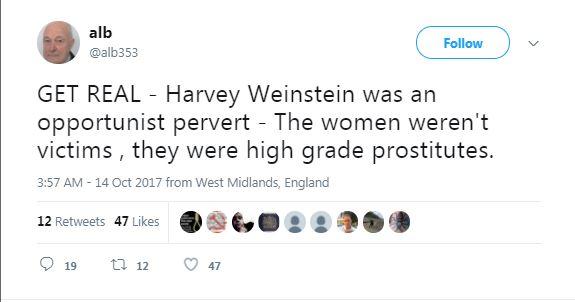 a tweet about Weinstein and prostitutes
