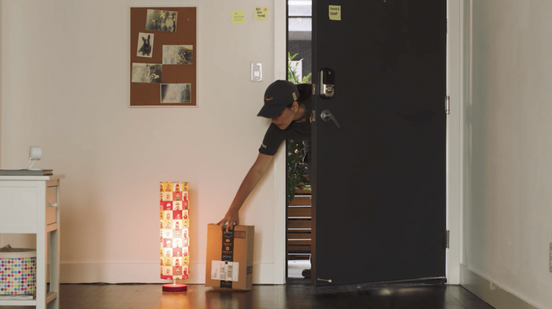A package is delivered using the new Amazon Key service