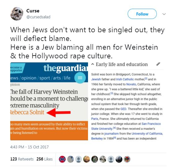 an antisemitic tweet about Weinstein with blue and yellow boxes