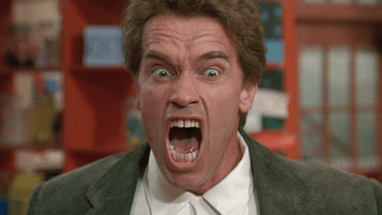 Arnold Schwarzenegger screams in Kindergarten Cop