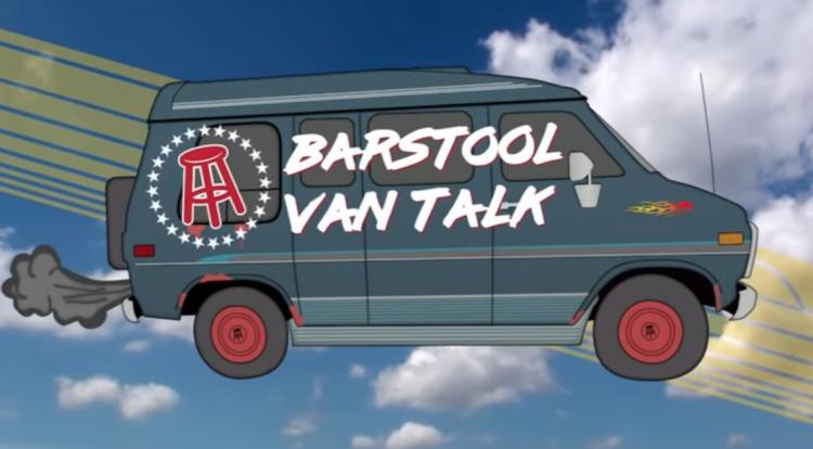 A van with the words Barstool Van Talk