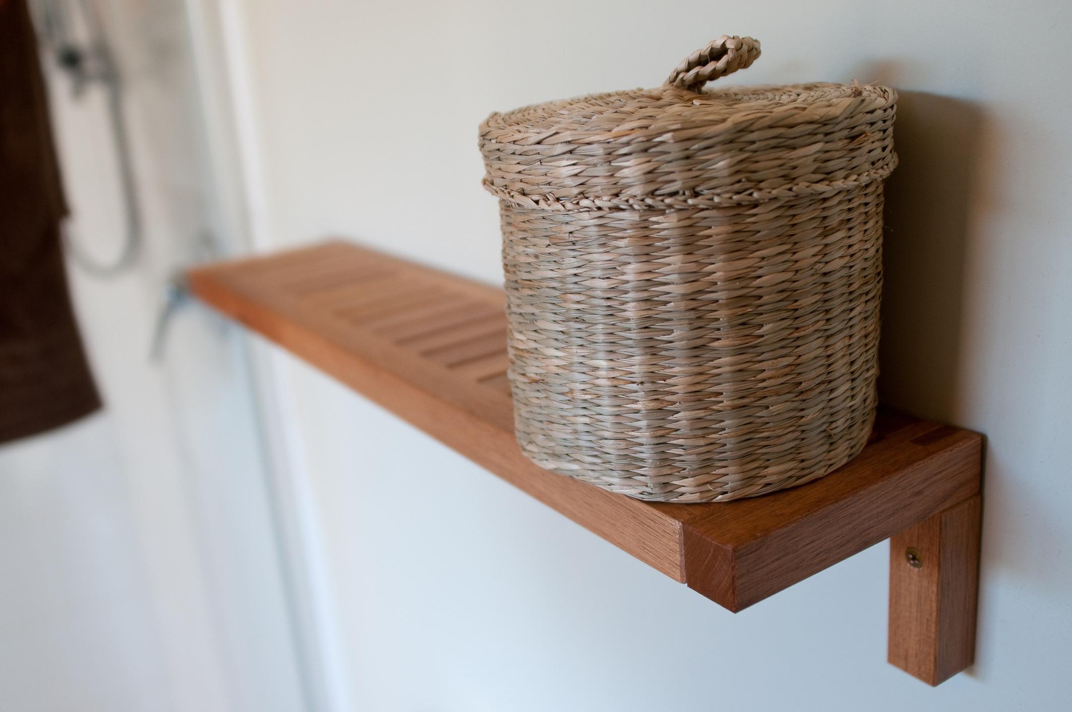 Basket storage in bathroom