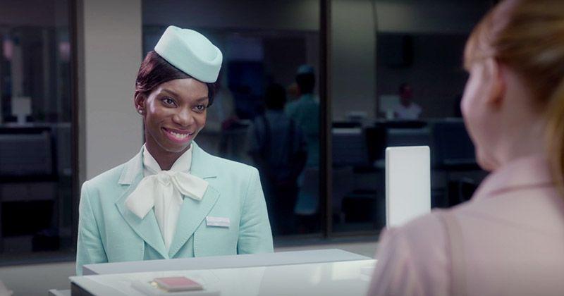 Michaela Coel wears a flight attendant suit in Black Mirror