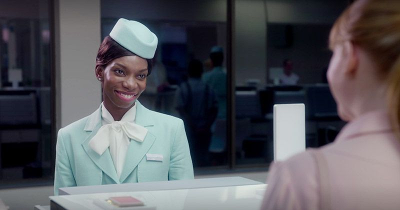 Michaela Coel wears a flight attendant suit in Black Mirror