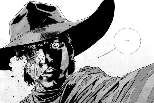 Carl Grimes, after suffering a gun shot to the face, says 'Dad?' in 'The Walking Dead' comics.