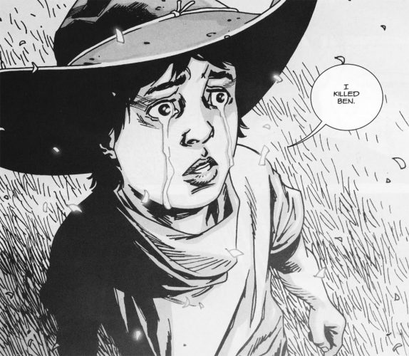 Carl Grimes, crying, says 'I killed Ben.'