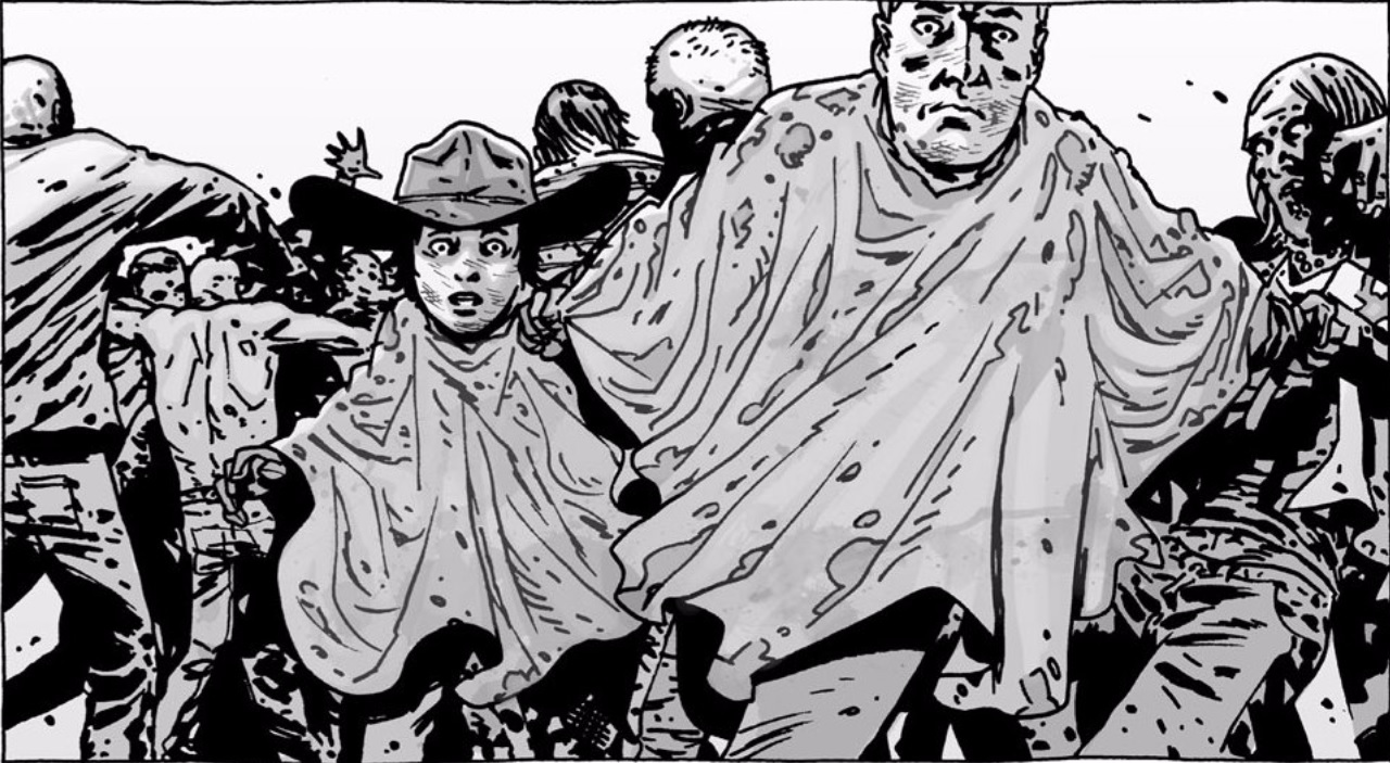 Black and white drawing of Carl and Rick in The Walking Dead comic