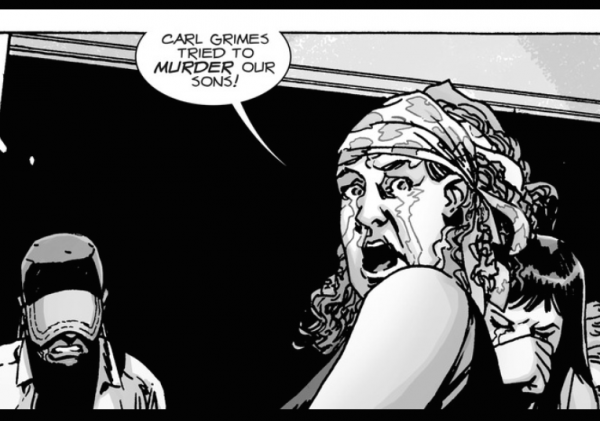 A distraight mother, Tammy, claims 'Carl Grimes tried to murder our sons!' in 'The Walking Dead' comics.