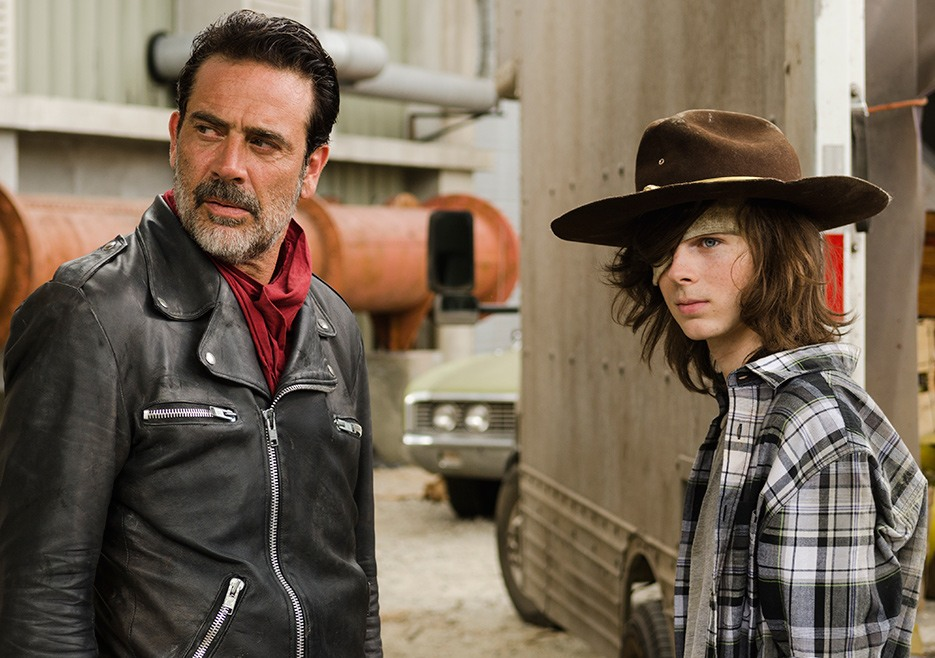 Negan and Carl on The Walking Dead Season 7