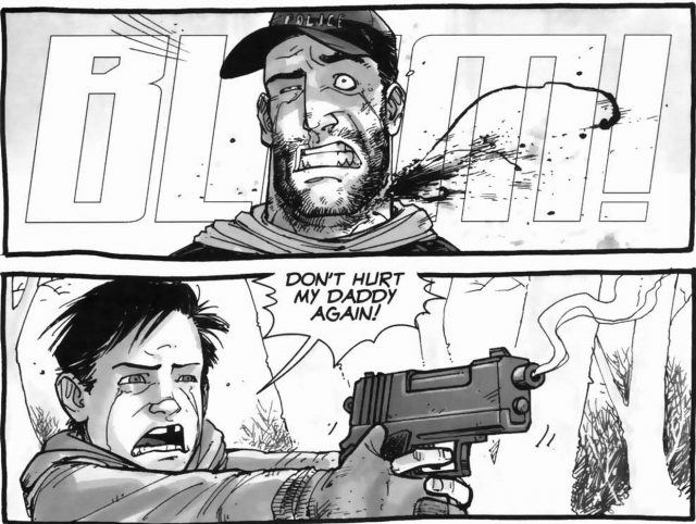 Carl yells 'Don't hurt my Daddy again!' as he shoots Shane in the neck in 'The Walking Dead' comics