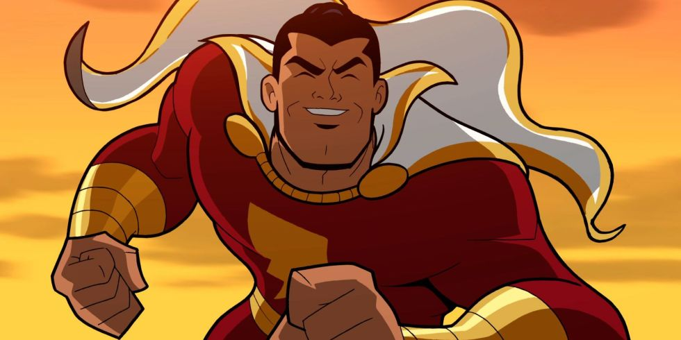 Shazam in his red costume.