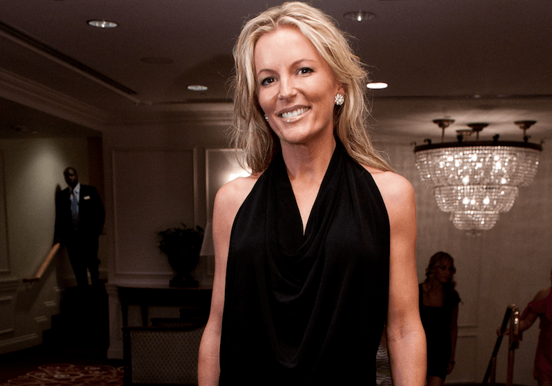 Catherine Ommanney poses in black dress