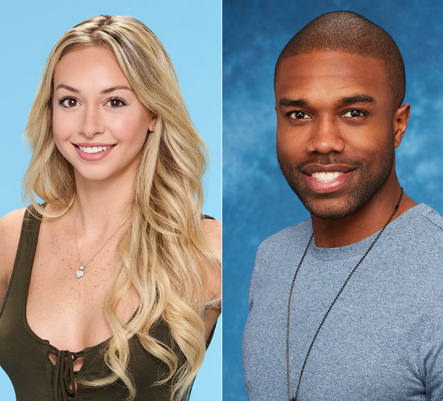 A composite of Corinne Olympios and DeMario Jackson