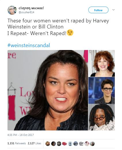 a tweet with photos of Rosie O'Donnell, Raachel Maddow, Whoopie Goldberg, and Reba McIntyre