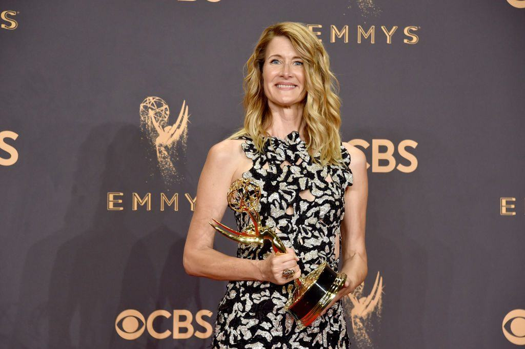 LOS ANGELES, CA - SEPTEMBER 17: Actor Laura Dern, winner of Outstanding Supporting Actress in a Limited Series or Movie for 'Big Little Lies', poses in the press room during the 69th Annual Primetime Emmy Awards at Microsoft Theater on September 17, 2017 in Los Angeles, California.
