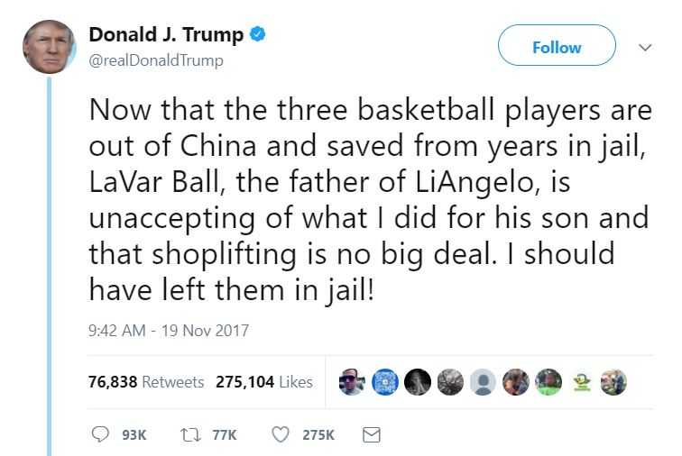 One of Trump's tweets