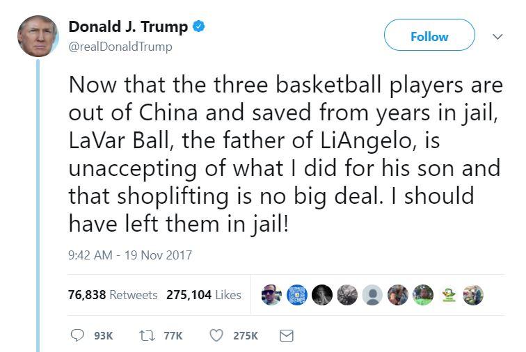 One of Trump's tweets